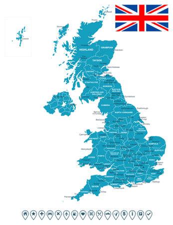 Verenigd Koninkrijk kaart, de vlag en navigatie labels - illustratie. Stock Illustratie