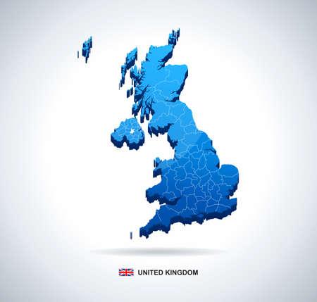 ireland cities: Map of Great Britain - 3D illustration.
