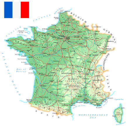 France - detailed topographic map - illustration. Map contains topographic contours, country and land names, cities, water objects, flag, roads, railways. Ilustração