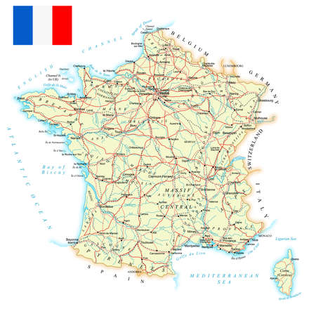 country roads: France - detailed map - illustration. Map contains topographic contours, country and land names, cities, water objects, roads, railways.