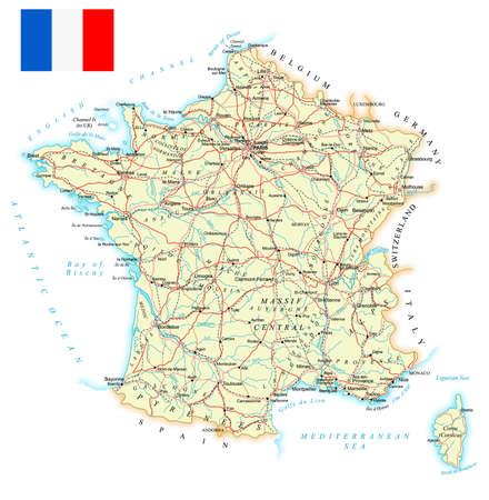 Francia - mapa detallado - ilustración. Mapa contiene contornos topográficos, país y los nombres de la tierra, ciudades, objetos de agua, carreteras, vías férreas.