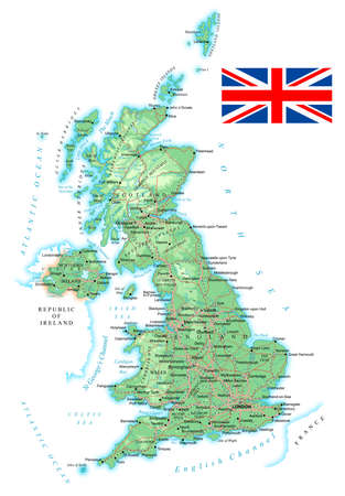 country roads: United Kingdom - detailed topographic map - illustration. Map contains topographic contours, country and land names, cities, water objects, flag, roads, railways.