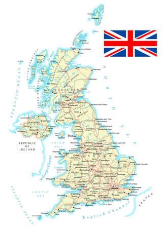 イギリス - 詳細地図 - イラスト。地図には、地形の輪郭、国や土地の名前、都市、水、道路、鉄道が含まれています。