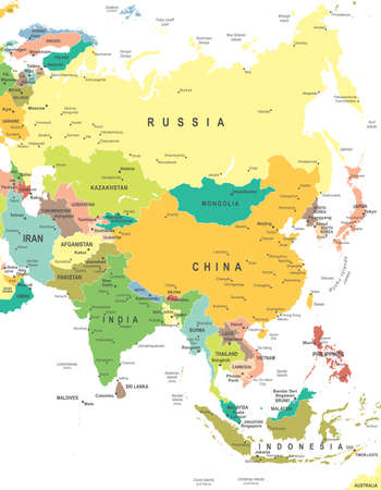 Asia map - highly detailed vector illustration Vettoriali