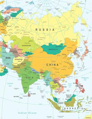 mappa: Illustrazione vettoriale della mappa Asia. Vettoriali