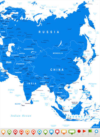 china business: Vector illustration of Asia map and navigation icons.