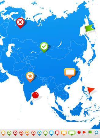 Mapa de Asia y los iconos de navegación - Ilustración. Foto de archivo - 44567056