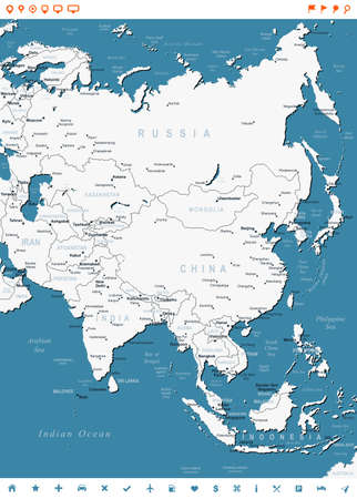 Asia - map and navigation labels - illustration.