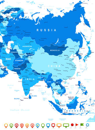 asia business: ASIA map - highly detailed vector illustration. Image contains land contours, country and land names, city names, water object names, navigation icons.
