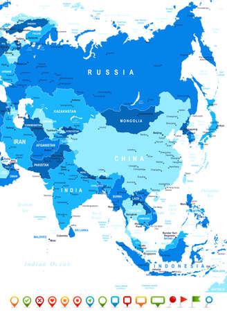 ASIE carte - très détaillées illustration vectorielle. Image contient contours terrestres, les noms de pays et de la terre, les noms de ville, les noms d'objets de l'eau, des icônes de navigation.