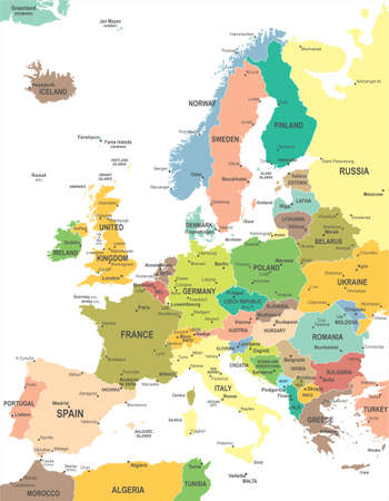 Europe map - highly detailed vector illustration. Ilustracja