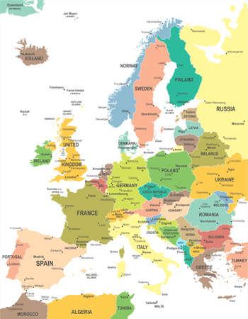 mappa: Mappa di Europa - altamente dettagliata illustrazione vettoriale. Vettoriali