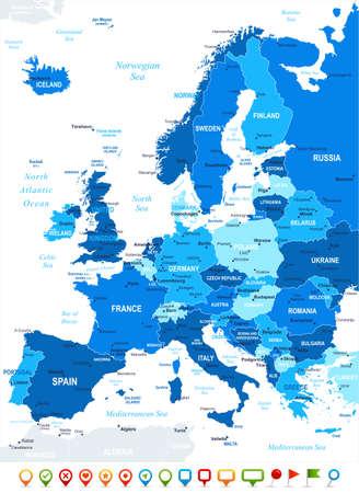 carte europe: Europe - carte et ic�nes de navigation - illustration.