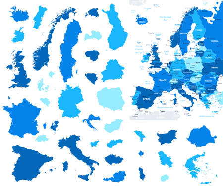 geographical locations: Europe map and country contours - Illustration.