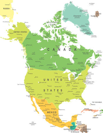 North America map - highly detailed vector illustration. Vettoriali