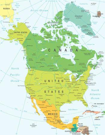 Noord-Amerika kaart - zeer gedetailleerde vector illustratie. Stock Illustratie