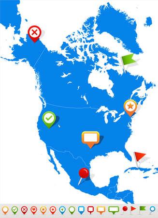 北アメリカの地図とナビゲーション アイコンのベクター イラストです。  イラスト・ベクター素材