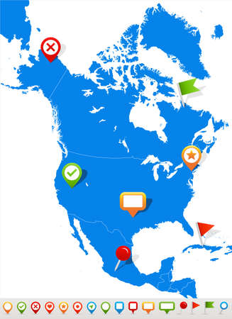 Vector illustration of North America map and navigation icons.