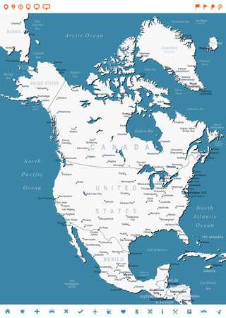 north america map: America del Nord - mappa e navigazione etichette - illustrazione.