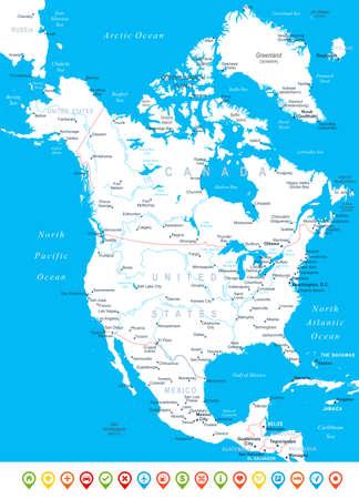 north america map: Nord America map - altamente dettagliata illustrazione vettoriale. Vettoriali