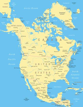 北アメリカ - 地図 - イラスト。