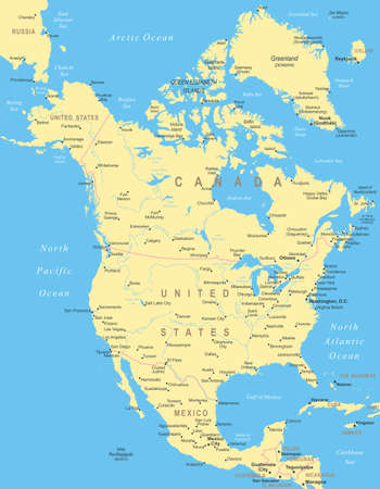 North America - map - illustration. Illustration