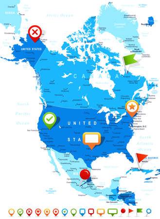 América del Norte mapa - altamente detallada ilustración vectorial. La imagen contiene contornos terrestres, nombres de países y de la tierra, los nombres de ciudades, nombres de objetos del agua, los iconos de navegación.