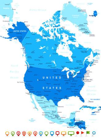 north america map: America del Nord - mappa e navigazione icone - illustrazione.