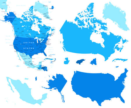 North America map and country contours - Illustration.