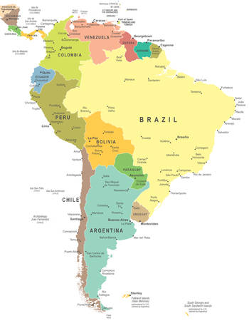 América del Sur mapa - altamente detallada ilustración vectorial. Vectores