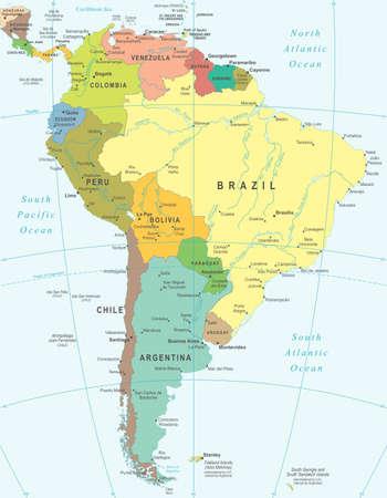 america del sur: América del Sur - mapa - ilustración. Vectores