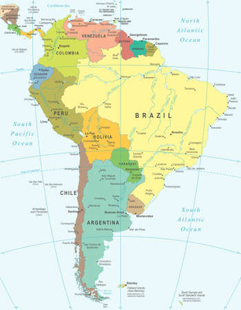 South America - map - illustration. Vettoriali