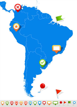 south america: Vector illustration of South America map and navigation icons.