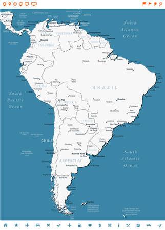 mapa de venezuela: América del Sur mapa - altamente detallada ilustración vectorial. La imagen contiene contornos terrestres, nombres de países y de la tierra, los nombres de ciudades, nombres de objetos del agua, los iconos de navegación.