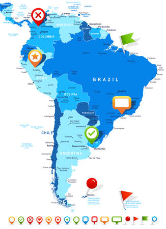 South America map - highly detailed vector illustration. Image contains land contours, country and land names, city names, water object names, navigation icons. Illustration
