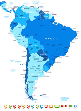 geographical locations: South America map - highly detailed vector illustration. Image contains land contours, country and land names, city names, water object names, navigation icons. Illustration