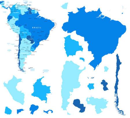 konturen: outh Amerika-Karte und L�nderkonturen - Illustration. Illustration