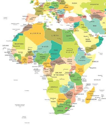 Mapa Afryka - bardzo szczegółowe ilustracji wektorowych.