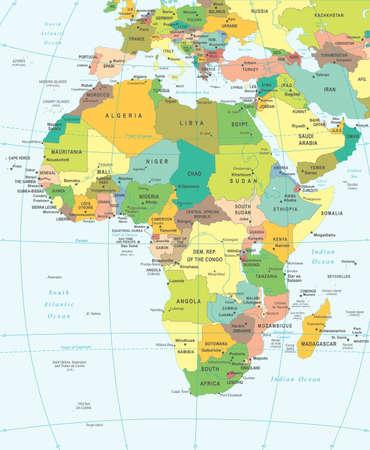 mapa de africa: África mapa - altamente detallada ilustración vectorial. Vectores
