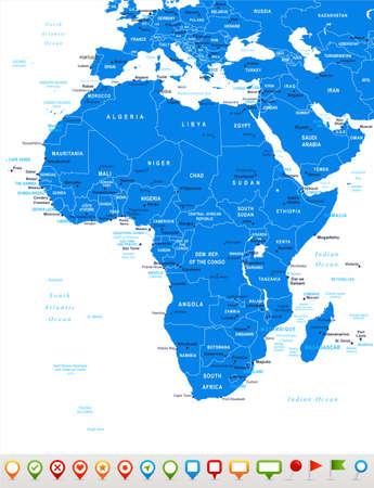 mapa de africa: África - mapa y los iconos de navegación - ilustración. Vectores