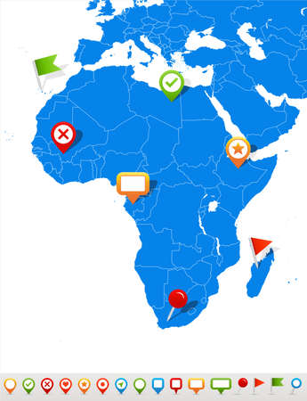 Vector illustration of Africa map and navigation icons.