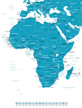 navigation object: Africa map - highly detailed vector illustration. Image contains land contours, country and land names, city names, water object names, navigation icons.