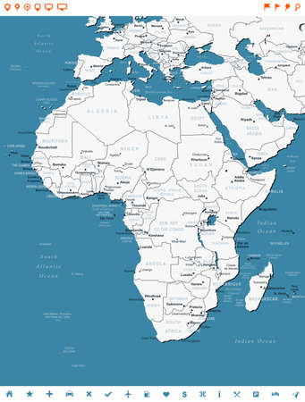 geographical locations: Africa - map and navigation labels - illustration.