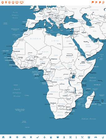 Africa - map and navigation labels - illustration.
