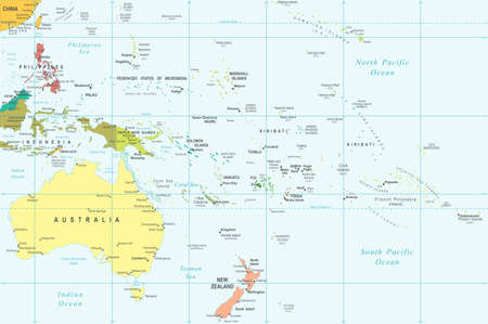 oceania: Australia and Oceania - map - illustration.