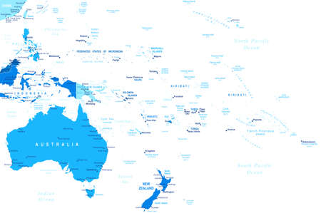 geographical locations: Australia and Oceania map - highly detailed vector illustration.