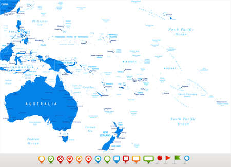 oceania: Australia and Oceania - map and navigation icons - illustration.