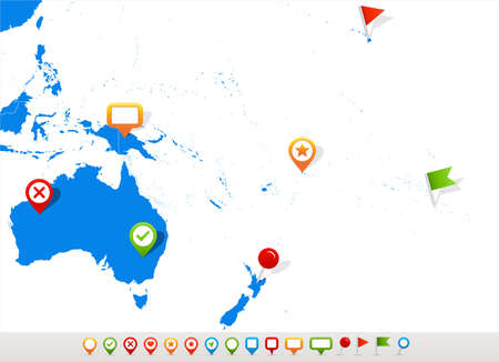 oceania: Vector illustration of Australia and Oceania map and navigation icons.