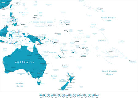 Australia and Oceania map - highly detailed vector illustration. Image contains land contours, country and land names, city names, water object names, navigation icons.