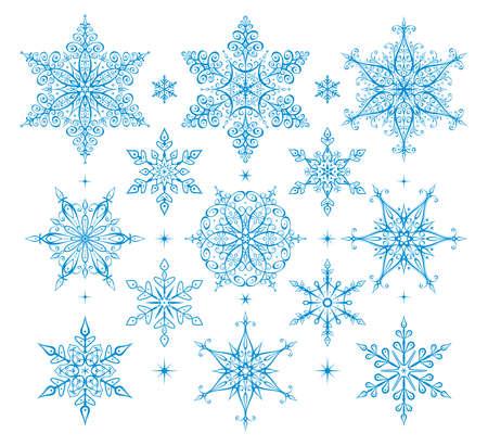copo de nieve: Los copos de nieve - ilustraci�n. Vector conjunto de los copos de nieve - iconos.